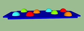 Hindernis speelstructuur halve bollen klein