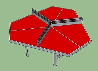 Metalen Triangel tafeltennistafel rood