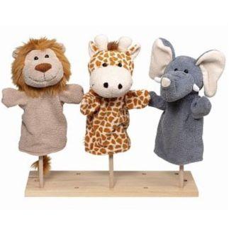 Handpop pluche set wilde dieren