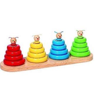 Kleuren- en vormensorteerspel Stapelwormen