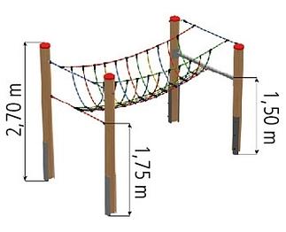 Aanbouwelement netbrug, excl palen
