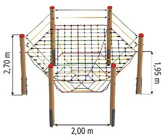 Basiselement zeshoek met hangnet, 180 mm, douglas