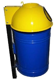 Verzinkte prullenbak met wandbevestiging