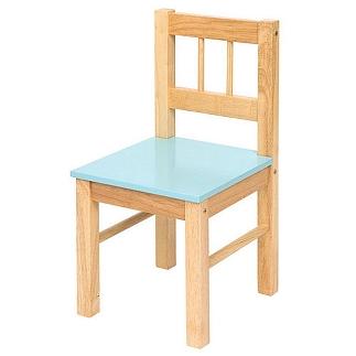 Houten stoel met blauwe zitting