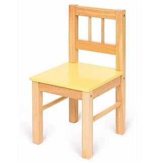 Houten stoel met gele zitting