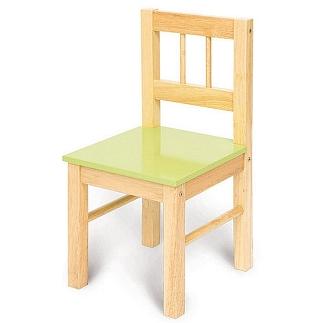 Houten stoel met groene zitting
