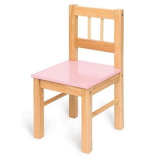 Houten stoel met roze zitting