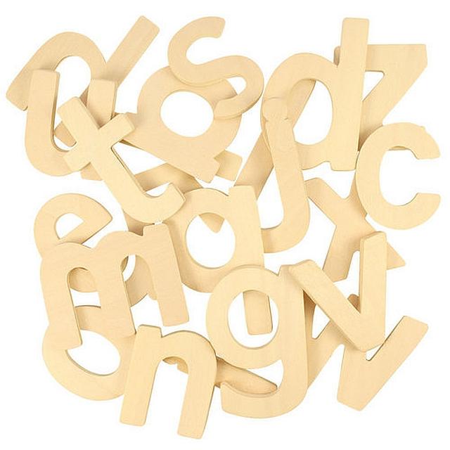 Katoenen zak met 26 houten letters