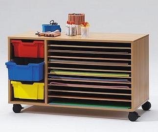 Droogkast met kunststof boxen gekleurd