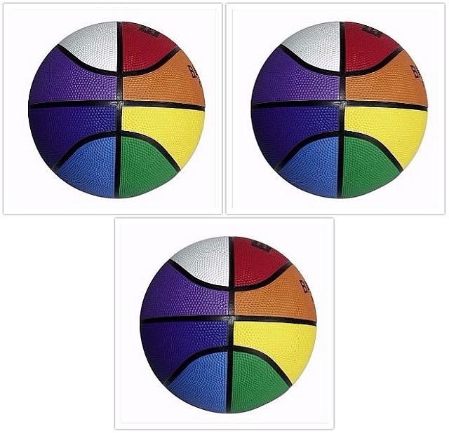 Set van 3 basketballen regenboog