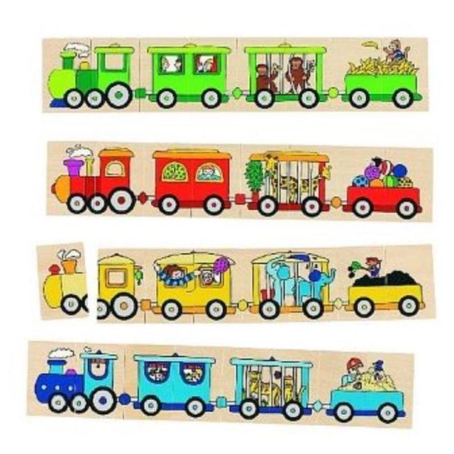 Houten lotto treinen 32-delig