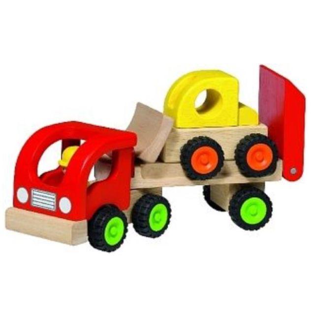Houten oplegger met bulldozer