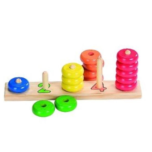 Kleuren- en vormensorteerspel Leren tellen met ringen