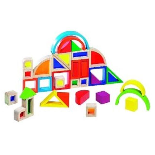 Regenboog bouwblokken met vensters