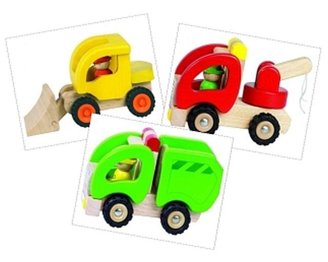 Set van 3 houten vrachtwagens