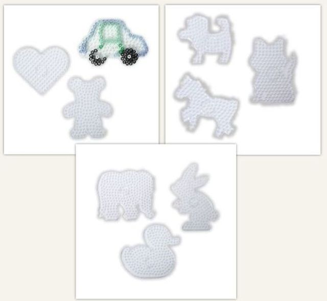 Set van 9 strijkkralen platen van diverse figuren