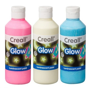 Glow in the dark verf set van 3 x 250 ml ass